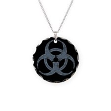 Gray Stone Biohazard Symbol Necklace