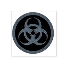 "Gray Stone Biohazard Symbol Square Sticker 3"" x 3"""