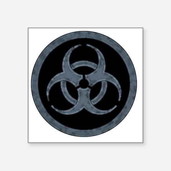 """Gray Stone Biohazard Symbol Square Sticker 3"""" x 3"""""""