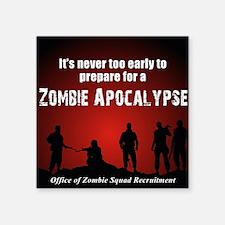 """Zombie Apocalypse Recruitin Square Sticker 3"""" x 3"""""""