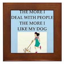 funny love dog people joke Framed Tile