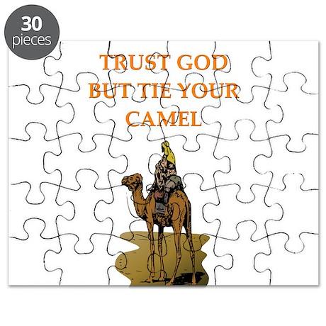 funny trust god tie your camel arab joke Puzzle