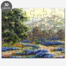 blue bonnets a plenty throw pillow Puzzle