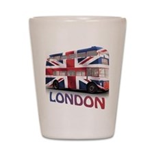 497 London Bus with Union Jack and text Shot Glass