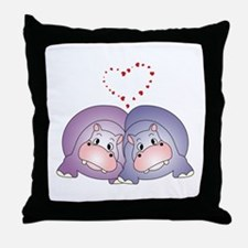Hippo Love Throw Pillow