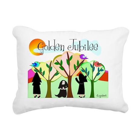 Golden Jubilee TREES SUN Rectangular Canvas Pillow