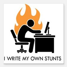"write stunts-white shirt Square Car Magnet 3"" x 3"""