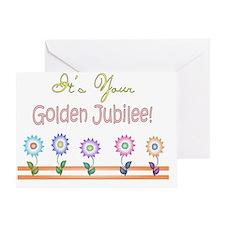 Golden Jubilee 5 flowers Greeting Card