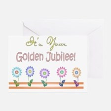 Golden Jubilee 5 flowers Greeting Card
