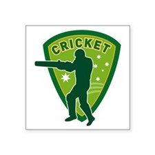 "cricket batsman batting aus Square Sticker 3"" x 3"""