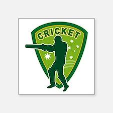"cricket batsman batting aus Square Sticker 3"" x 3"""