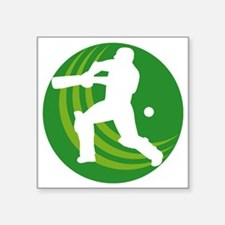"cricket batsman batting bal Square Sticker 3"" x 3"""