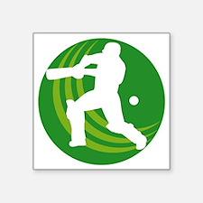 "cricket batsman batting bal Square Sticker 3"" x 3"""