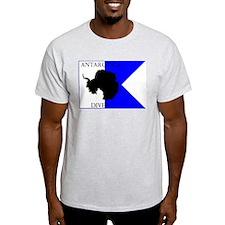 Antarctica Diver Alpha Flag Ash Grey T-Shirt
