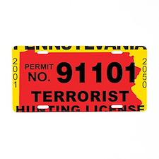 terrorist-hunting-license-X Aluminum License Plate
