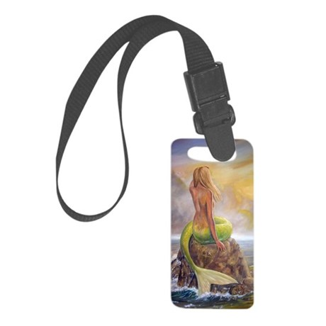 merm perch for journ Small Luggage Tag