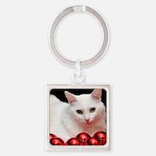 xmas_cat_rnd Square Keychain