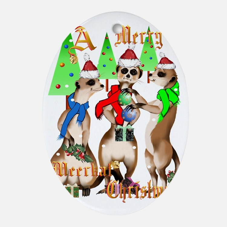 Merry Meerkat Christmas Trans Oval Ornament