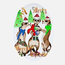 Merry Meerkat Christmas snow Trans Oval Ornament