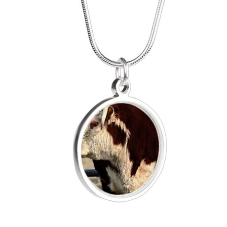 Bull mousepad Silver Round Necklace