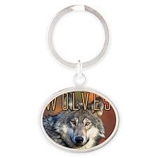 Wolves Wall Calendar Oval Keychain