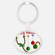 Happy Holidays Stethoscope Oval Keychain