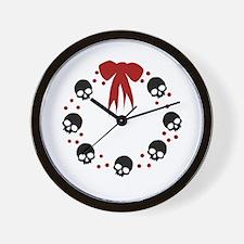 skull-wreath-bow_wh Wall Clock