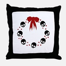 skull-wreath-bow_wh Throw Pillow