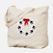 skull-wreath-bow_wh Tote Bag