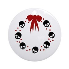skull-wreath-bow_wh Round Ornament