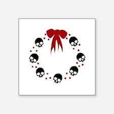 """skull-wreath-bow_wh Square Sticker 3"""" x 3"""""""