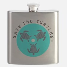 Save the Turtles Blue Logo Flask