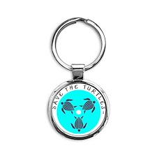 Save the Turtles Blue Logo Round Keychain