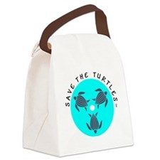 Save the Turtles Blue Logo Canvas Lunch Bag