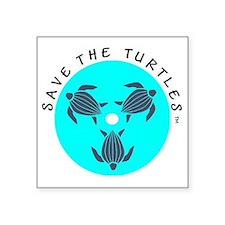 "Save the Turtles Blue Logo Square Sticker 3"" x 3"""