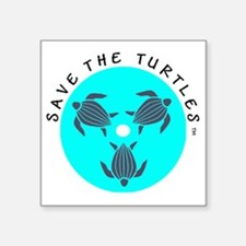 "Save the Turtles Blue Logo Square Sticker 3"" x 3"""