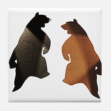 BROWN & BLACK DANCING BEAR 3 Tile Coaster