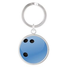 Blue bowling ball Round Keychain