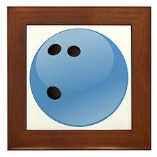 Blue bowling ball Framed Tile