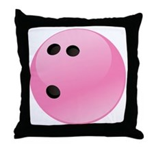 Pink Bowling Ball Throw Pillow