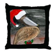SANTA PELICAN THROW BLANKET Throw Pillow