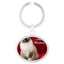 Maddie Merry Christmas Tile Coaster Oval Keychain