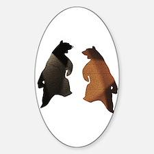 BROWN & BLACK DANCING BEAR 3 Oval Decal