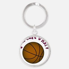 basketball-brown-pink Round Keychain
