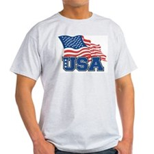 American Flag Ash Grey T-Shirt