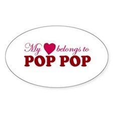 Heart Belongs to Pop pop Oval Decal