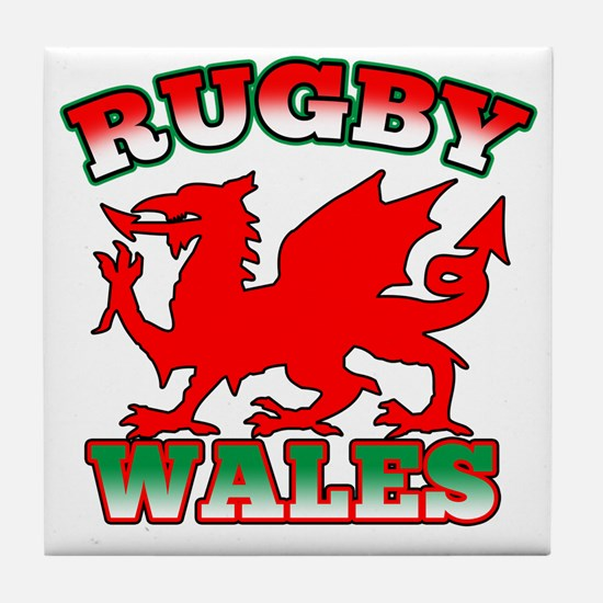 Rugby Wales Flag Dragon Tile Coaster
