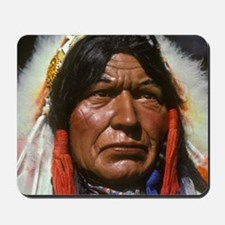 Wooden sculpture of an Indian Chief outs Mousepad