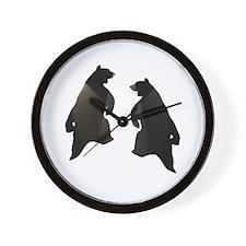 BLACK DANCING BEARS Wall Clock