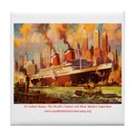SS United States in New York  Tile Coaster